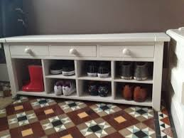 furniture rectangle white wooden shoe rack with drawers on brown