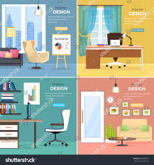 interior design four office rooms modern stock vector 583698757