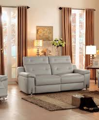 Double Reclining Sofa by Homelegance 8300 3pw 8300 3pw Light Grey Top Grain Leather Power
