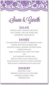 elegant floral lace purple menu template downloadble stationery 35375