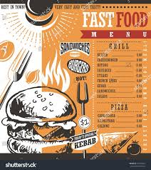 fast food restaurant menu design idea stock vector 391040851