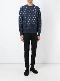 champion mini logo print sweatshirt in blue for men lyst