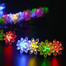 outdoor string lights solar solar outdoor string lights 6m 30 led lotus flower solar powered
