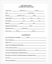 Counseling Intake Form Sle Counseling Forms 9 Free Documents In Pdf