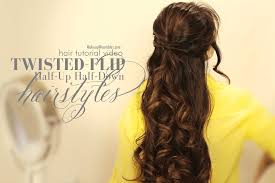medium length flipped up hairstyles twisted flip half up updos half down hairstyles hair tutorial video