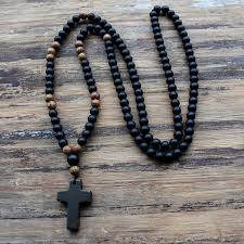 bead cross necklace images 6mm black stone wood beads with black stone cross pendant mens jpg