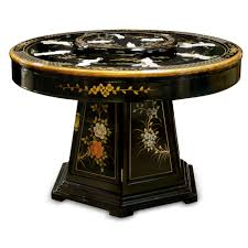 black lacquer pearl figure motif round dining table with 6 chairs
