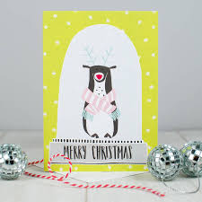reindeer snow globe christmas card by betty etiquette