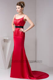 elegant red spaghetti straps formal dress prom gown with black