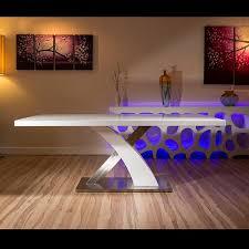 modern dining table white glass top white gloss x base 2 metre x 1