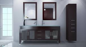 bathroom bathroom with black vanity cabinet with double sink and