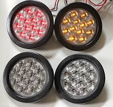 led lights for trucks and trailers new 2 red 2 amber clear lens 4 round led stop brake turn tail