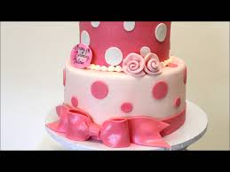 pink and white birthday cake birthday cake idea 2 tier baby