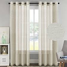 Drapery Panels With Grommets Amazon Com Threshold Linen Grommet Sheer Curtain Panel Kitchen