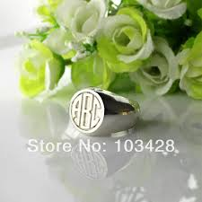 monogrammed silver ring personalized engraved monogram rings customized 3 circle block