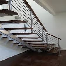 modern luxury open riser mono stringer staircase with stainless