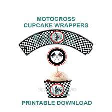 motocross theme cupcake wrappers birthday party printable