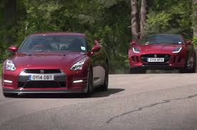 nissan gtr youtube review nissan gt r vs jaguar f type r coupe time trial contest youtube