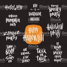 set of brush calligraphy for halloween greeting invitation or