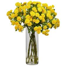 home decoration cheap yellow fake floral arrangements with glass