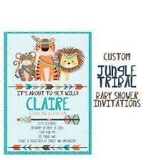 jungle baby shower invitation custom tribal animal shower