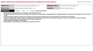Warehouse Management Resume Warehouse Manager Resume Sample