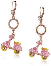 earrings and things betsey johnson color me betsey pink polka dot vespa drop