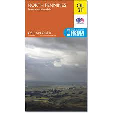 map of north pennines os explorer map ol31 teesdale u0026 weardale