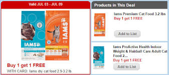 food coupons iams cat food b1g1 free next week print now