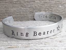 Custom Stamped Jewelry Ring Bearer Toddler Or Child Size Name Bracelet Wedding Party Hand