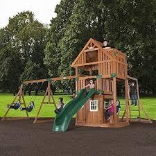 backyard swing set kids wood playset jungle gym playhouse play hut