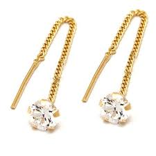 cercei de aur bijuterii aur cercei aur galben 14k dama piatra alba zirconia cu