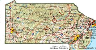 pennsylvania state map pa shaded relief map fullscreen