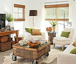 chic wicker wheeled coffee table and white couch for classic