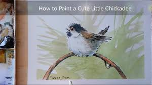 how to paint a cute chickadee line and wash watercolor easy to