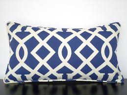Lumbar Patio Pillows Blue Outdoor Pillow Cover 21x11 Blue Cream Outdoor Cushion