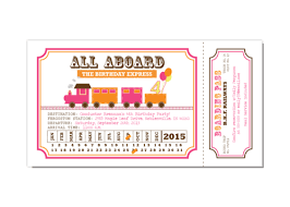train ticket pink and orange birthday party invitation