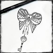 skull locket key flower butterfly tat
