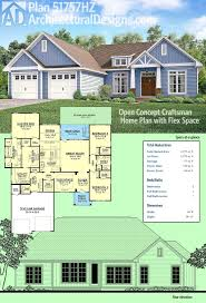 craftsman home plans with pictures plan 51757hz open concept craftsman home plan with flex space