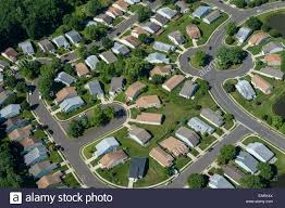aerial view of residential houses in suburban neighborhood new