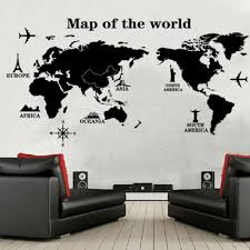 online get cheap world map wallpaper mural black aliexpress com world map wall stickers fasion removable mural wallpaper black wall decals for living room decorative wall