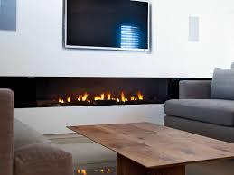 stunning rectangular long gas fireplace design set on under the tv