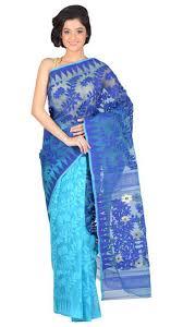 dhakai jamdani saree online blue and aqua blue cotton handloom resam silk muslin dhakai