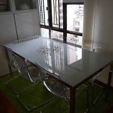 dining room table ikea modern rectangle glass dining table with chrome metal legs