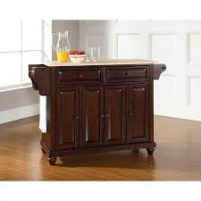 crosley furniture kitchen cart crosley furniture cambridge wood top mahogany kitchen island