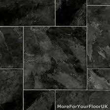 black random tile vinyl flooring slip resistant lino 4m kitchen
