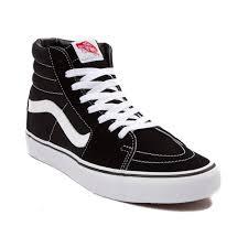 Black And White Rebel Flag Vans Sk8 Hi Skate Shoe Black 498067