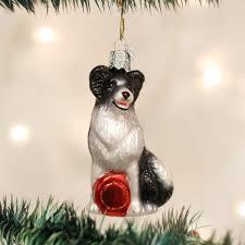 world border collie glass blown ornament