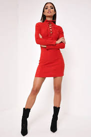 red lace up suede dress with long sleeves u2013 i saw it first usa