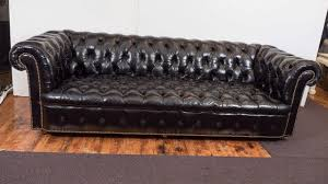 Chesterfield Black Sofa Midcentury Chesterfield Sofa In Tufted Black Leather At 1stdibs